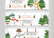Free vector Hand drawn christmas snowman banners #29293
