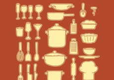 Free vector Hand drawn collection of kitchen tools #31614