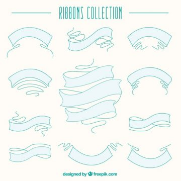 Free vector Hand drawn ribbons collection #33244