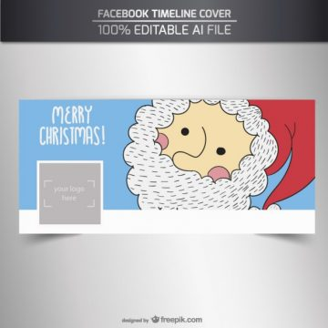 Free vector Hand drawn santa claus facebook cover #32702