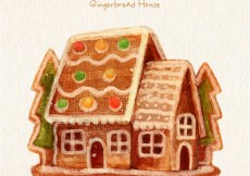 Free vector Hand painted gingerbread house #30893