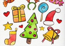 Free vector Hand painted pack of christmas elements #31156
