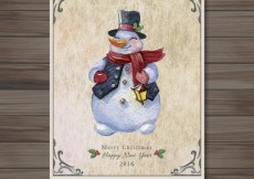 Free vector hand painted snowman card #28869