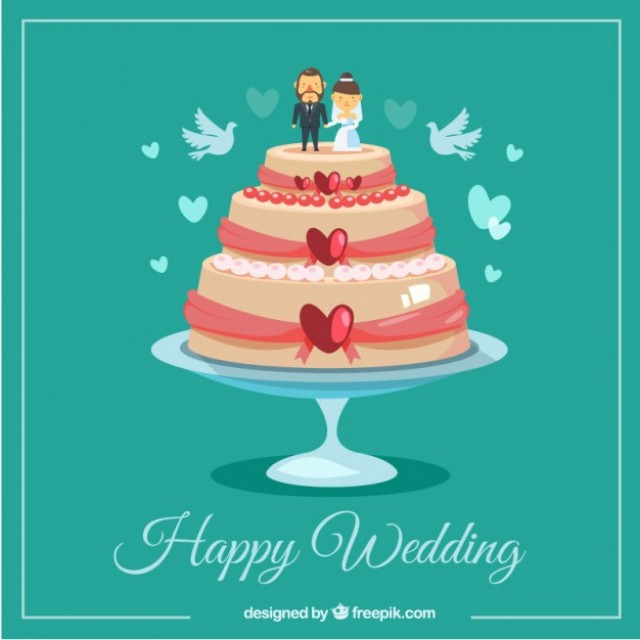 Free vector Happy wedding cake #34034
