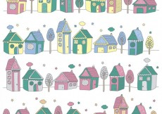 Free vector Landscape with colorful houses #33653