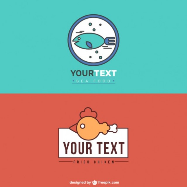 Free vector Logos of restaurants of sea food and fried chicken #31896