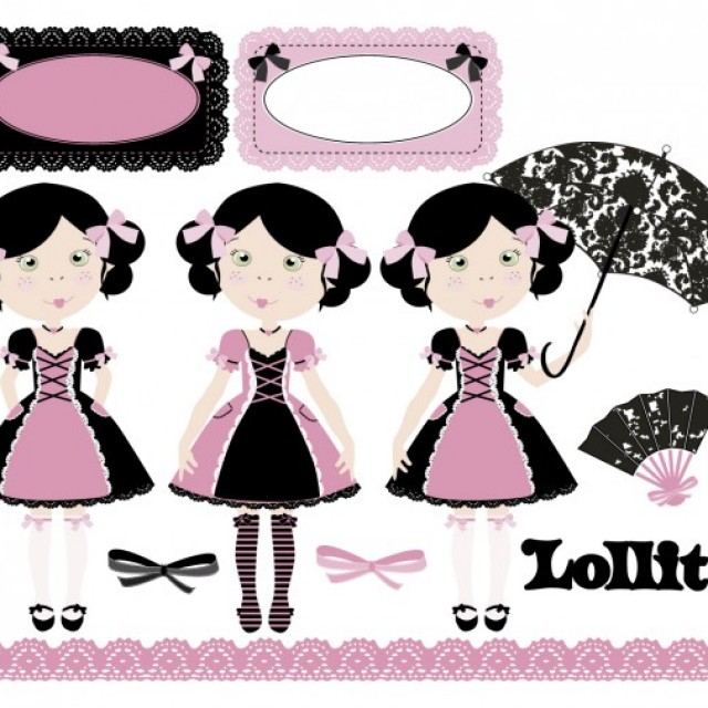 Free vector Lollita in pink and black #29447