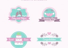 Free vector lovely wedding emblems in pastel colors #32434