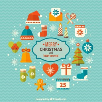 Free vector Merry christmas and happy new year elements #34141
