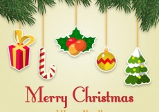 Free vector Merry christmas background with hanging baubles #28932