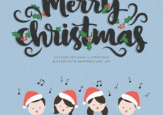 Free vector Merry christmas lettering background #29940