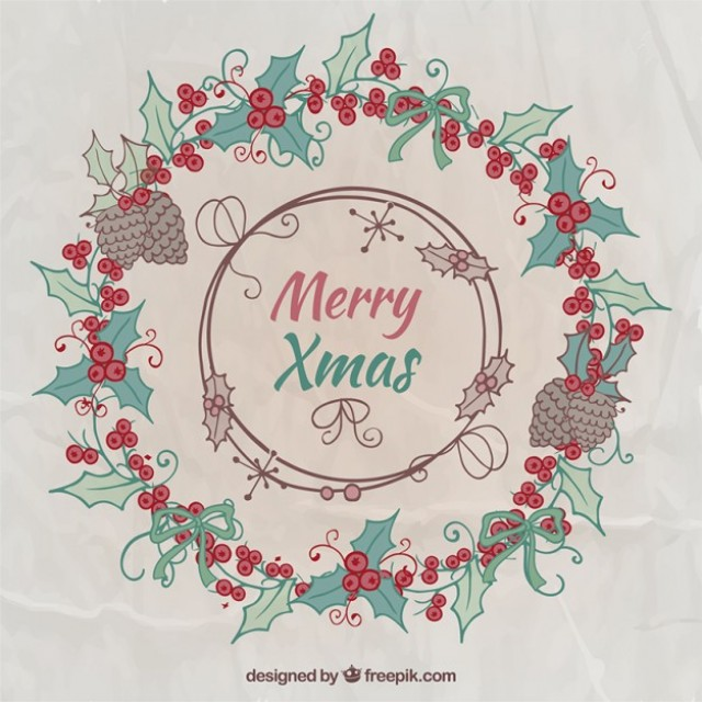 Free vector Merry christmas wreath #34111