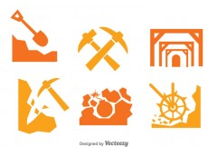 Free vector Mining Worker Icons Set #29280