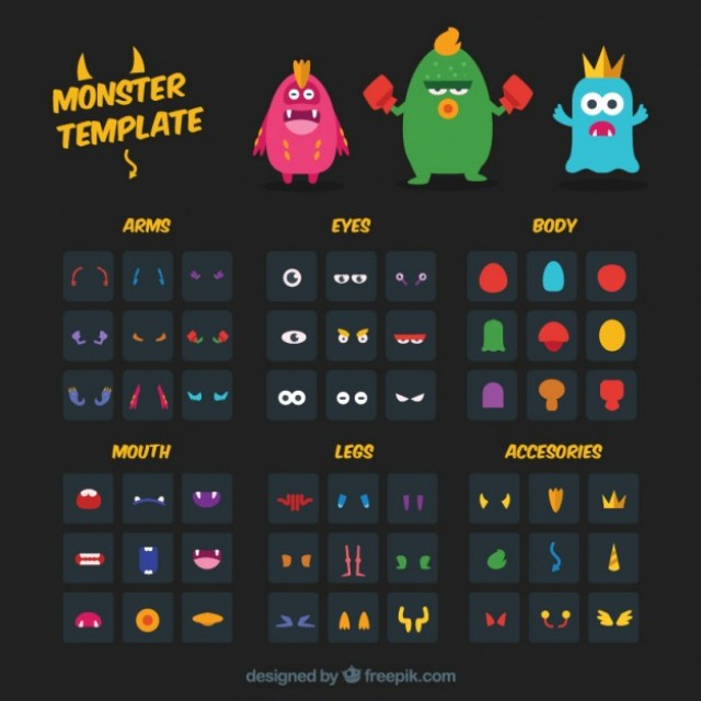 Free vector monster character template #30104