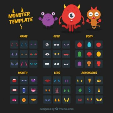 Free vector monster creation template #30108