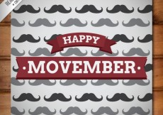 Free vector Movember card with mustaches #30962