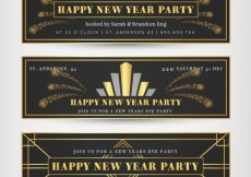 Free vector New year banners in art deco style #32048