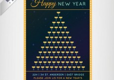 Free vector new year champagne glasses poster #32040