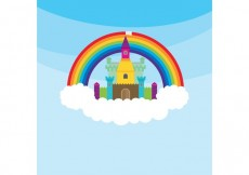 Free vector Princess Castle & Rainbow #34009