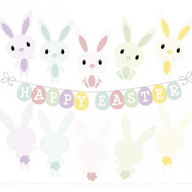 Free vector Rabbits in happy easter #29433