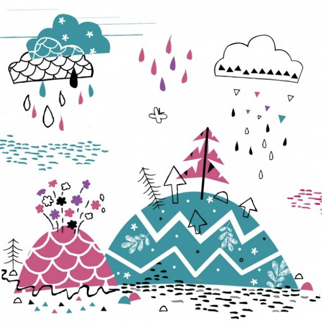 Free vector Raining in the mountain  #34016