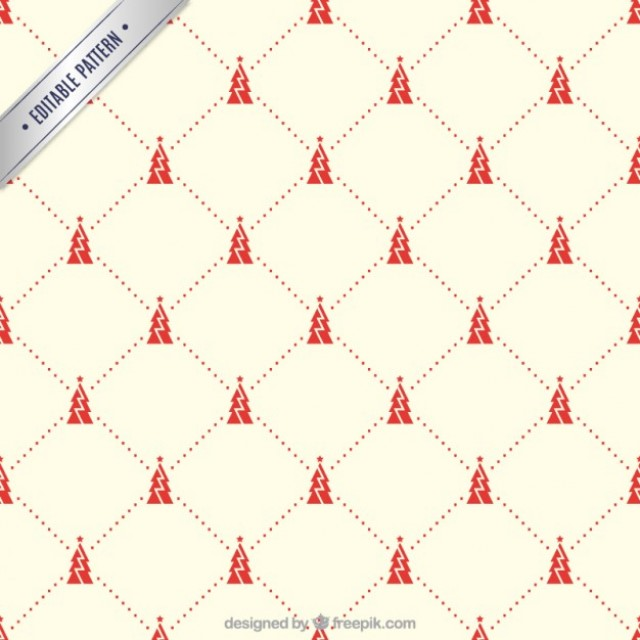 Free vector Red christmas trees pattern #34145