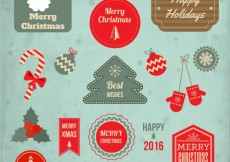 Free vector Retro collection of christmas badges #32088