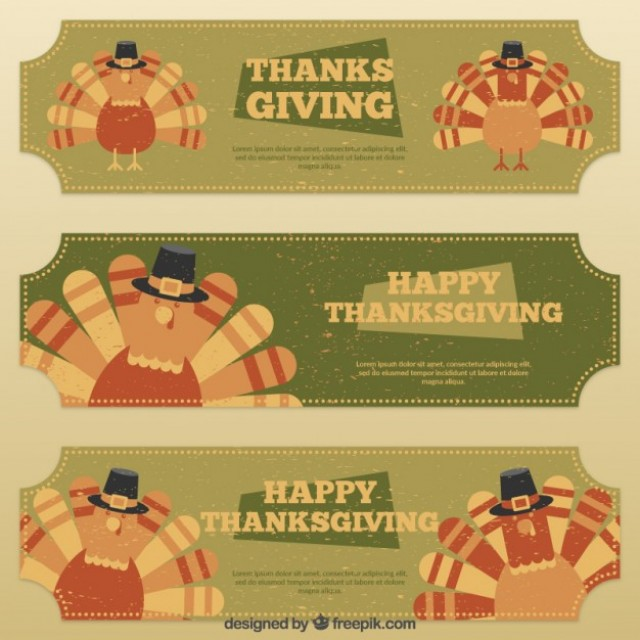 Free vector Retro thanksgiving banners #33416
