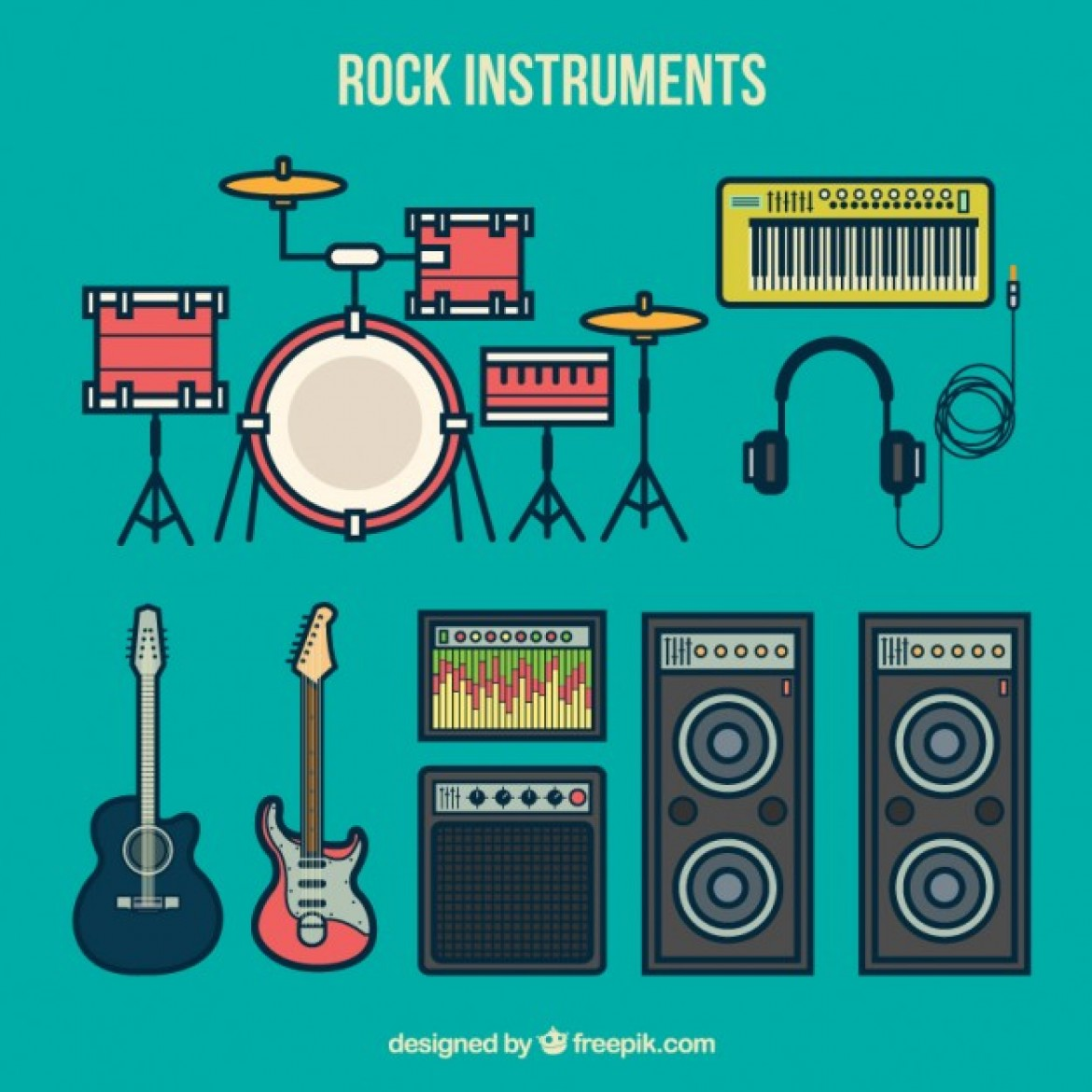Free vector Rock instruments collection #33048