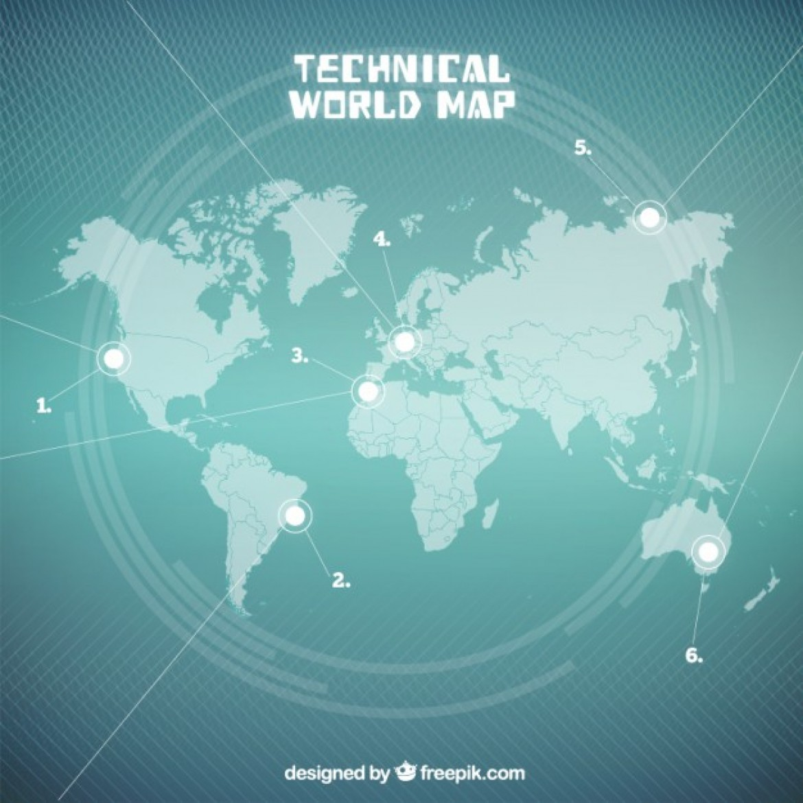 Free vector Seagreen Technical World Map #33326