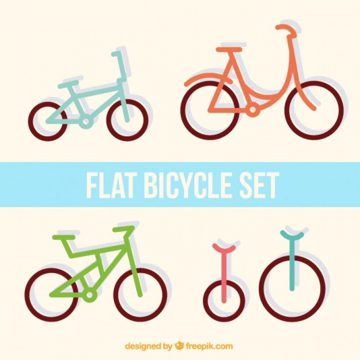 Free vector Set of flat bicycles #29636