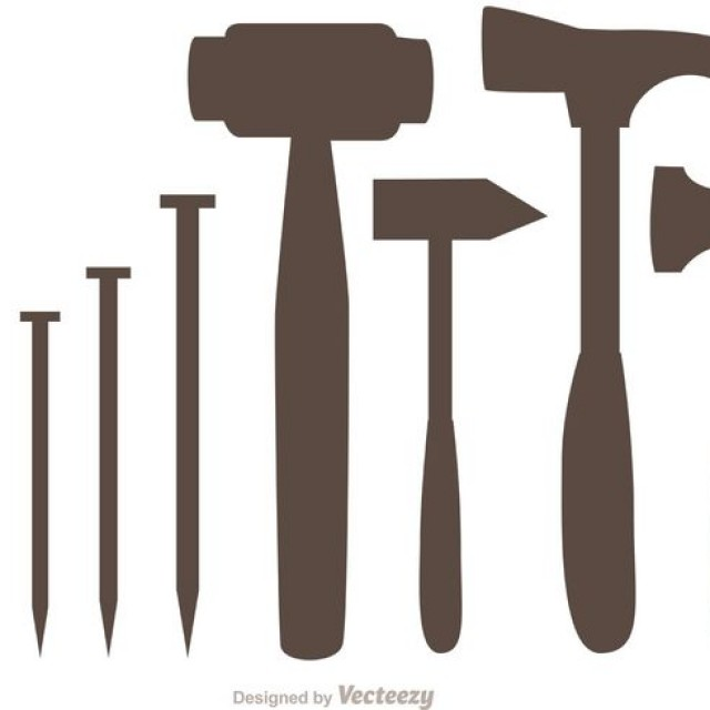 Free vector Silhouette Hammer And Nail Icons Vector Pack #34630