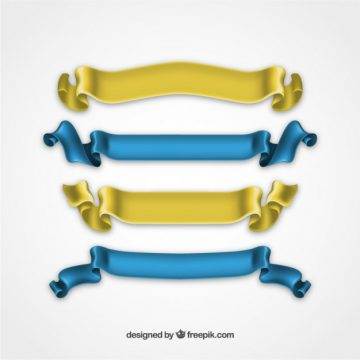 Free vector Silky ribbons in yellown and blue colors #29431
