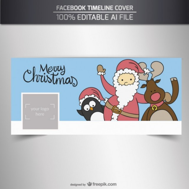 Free vector Sketchy christmas characters facebook cover #32700