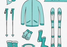 Free vector Sketchy winter sports in turquoise tones #32146