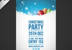 Free vector Snowy christmas party poster #31988