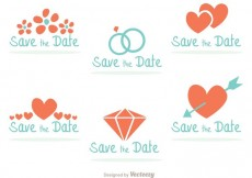 Free vector Teal and Coral Save the Date Badges #34039