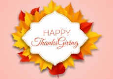 Free vector Thanksgiving day label with autumn leaves #30016