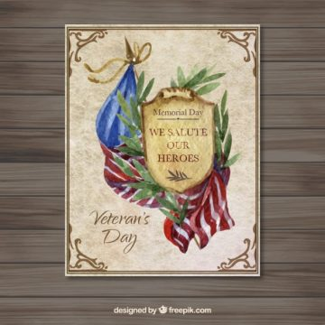 Free vector United States Watercolor Veteran Day Card #28737