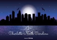 Free vector Charlotte North Carolina Night Skyline #31195