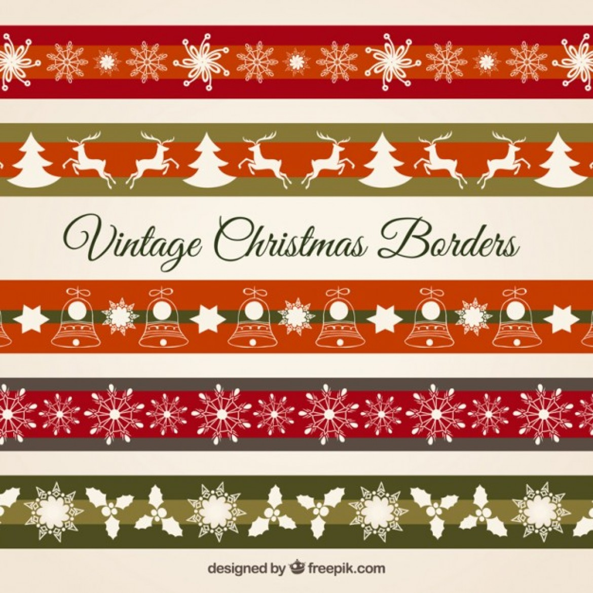 Free vector Vintage christmas borders #28995 | My Graphic Hunt
