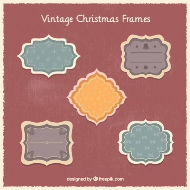 Free vector Vintage christmas frames #33196