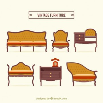 Free vector Vintage furniture pack #28771