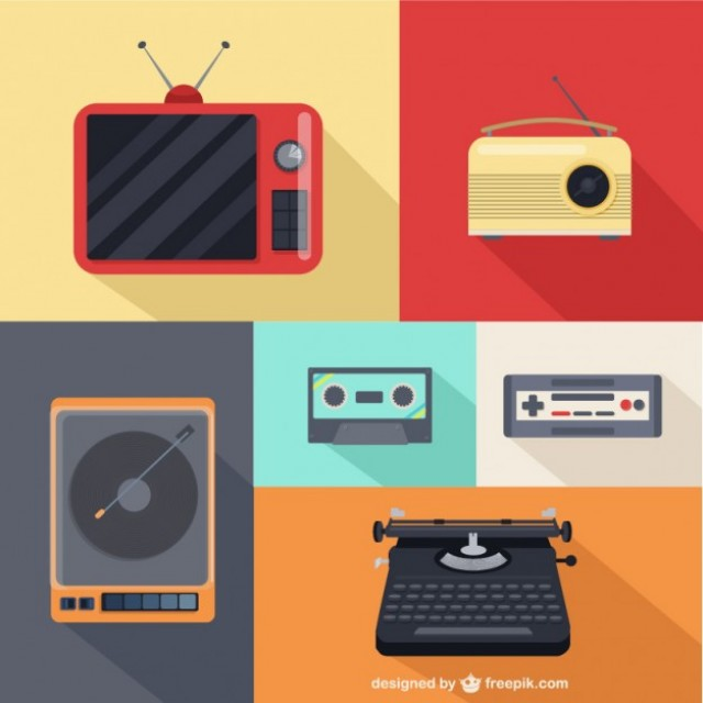 Free vector Vintage  Multimedia Icons Set #30388