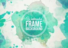 Free vector Watercolor frame background in turquoise tones #32156