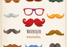 Free vector Watercolor moustaches collection #29742