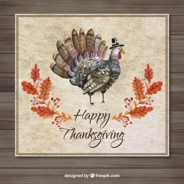 Free vector Watercolor Thanksgiving Card #28745
