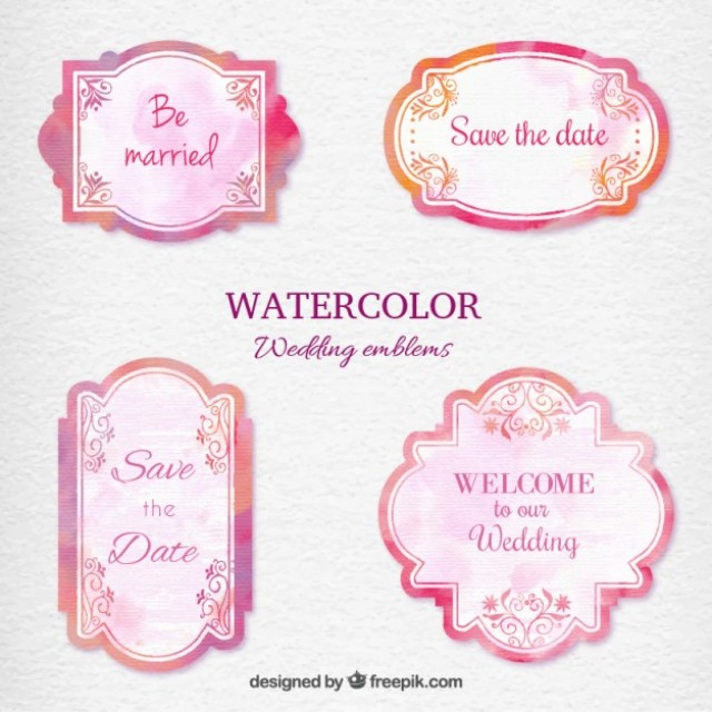 Free vector Watercolor wedding emblems #33775