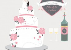 Free vector Wedding cake and champagne #34555