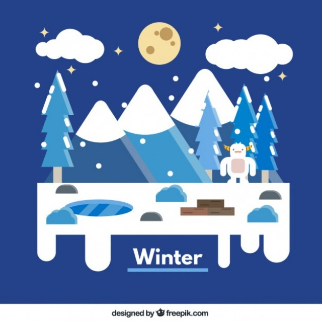 Free vector Winter forest landscape #34062
